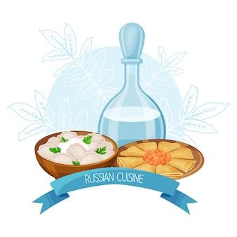 Cibo tradizionale russo. cornice con pasti russi. gnocchi, frittelle con caviale, vodka. illustrazione vettoriale. stile cartone animato.