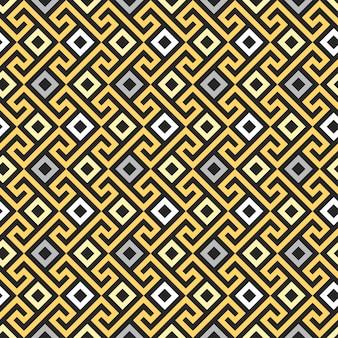 Ornamento greco quadrato tradizionale oro vintage senza soluzione di continuità, meander
