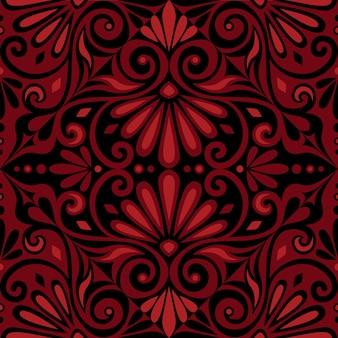 Tradizionale senza soluzione di continuità vintage quadrato rosso e nero floreale ornamento greco meandro