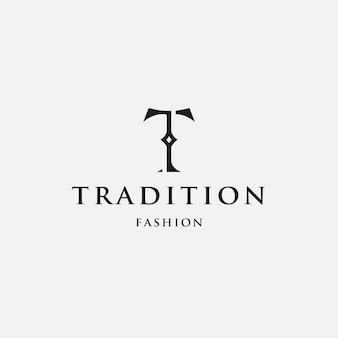 Modello di logo tradizionale lettera t