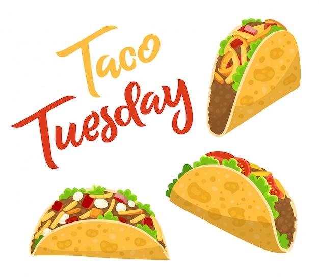Poster di martedì tradizionale taco con deliziosi tacos, cibo messicano