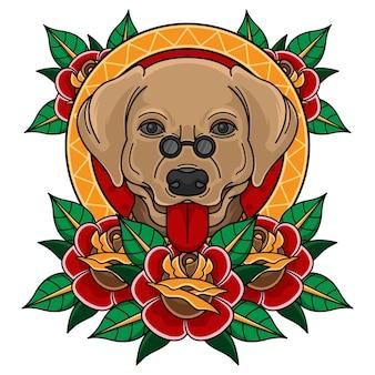 Testa di cane tatuaggio tradizionale con rosa