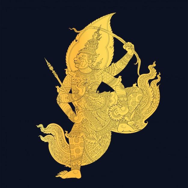 Arte tailandese tradizionale nell'illustrazione di storia di ramayana