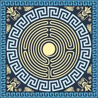 Ornamento tradizionale greco vintage in oro e blu (meandro
