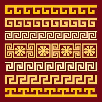 Ornamento greco quadrato dorato dell'annata tradizionale meandro su uno sfondo rosso