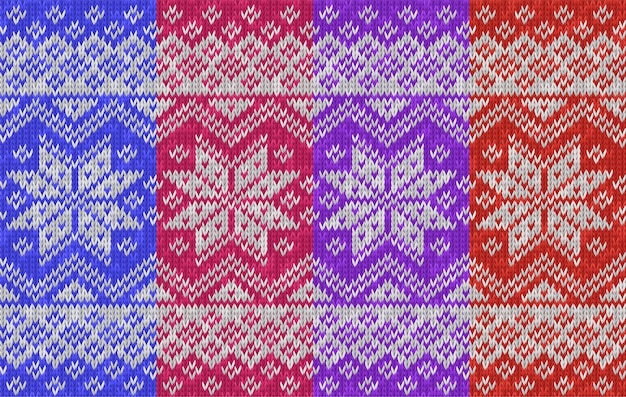 Modello lavorato a maglia senza cuciture tradizionale vacanza invernale texture realistica a maglia con fiocchi di neve illustrazione vettoriale di maglieria per sfondo sfondo stile scandinavo norvegese Vettore Premium