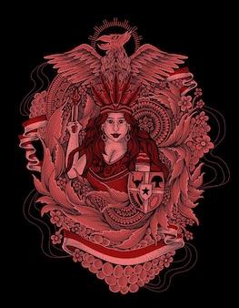 Abiti tradizionali dayak indonesia con illustrazione di garuda