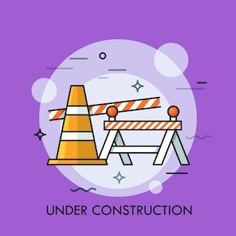 Cono stradale, barriera di sicurezza stradale e nastro restrittivo. concetto di sito web in costruzione, errore 404, servizi di riparazione, manutenzione stradale e zona pericolosa. Vettore Premium