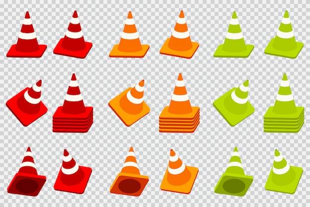 Icone del fumetto di vettore del cono di traffico messe isolate