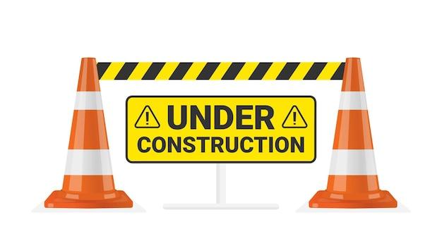Cono di traffico avviso in costruzione