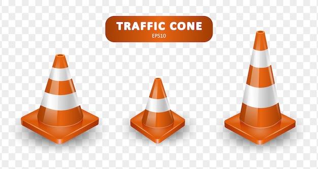 Raccolta di coni di traffico. insieme isometrico delle icone per il web su fondo bianco. illustrazione realistica.