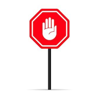 Icona del segnale di arresto della mano del traffico. segnale di avvertimento vietato. vettore su sfondo bianco isolato. env 10.