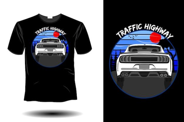 Design vintage retrò mockup di traffico autostradale Vettore Premium