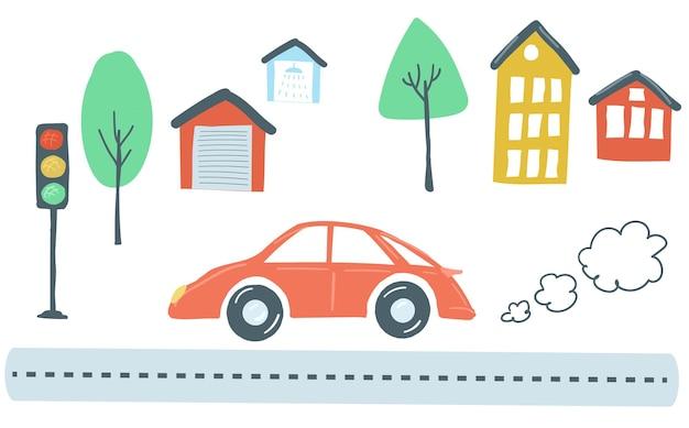 Scenario di traffico e trasporto domestico l'auto rossa guida la strada lanciando case e alberi vettore
