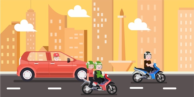 Il traffico nella città di jakarta