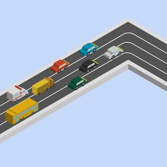 Ingorgo stradale in isometrica