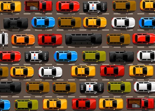 Ingorgo stradale sulla strada. trasporto stradale. sfondo