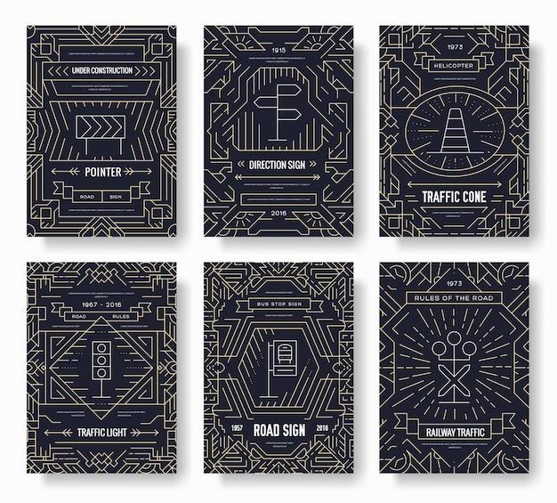 Set di carte brochure linea sottile giorno semaforo. modello urbano di flyear, riviste, poster, libri