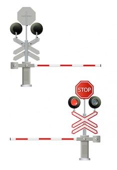 Il semaforo, le barriere ferroviarie si chiudono isolato su sfondo bianco, concetto di design per l'avvio, soluzioni di business, sviluppo e innovazione, creatività,
