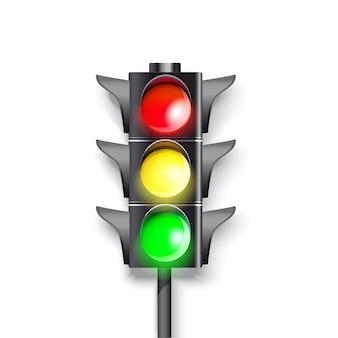 Semaforo su uno sfondo bianco. colore verde, rosso e verde che brucia.