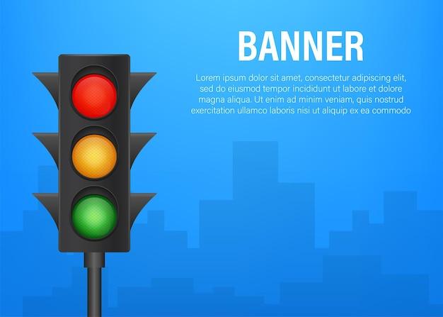 Banner di semafori su sfondo blu. illustrazione di riserva di vettore.