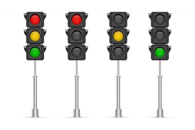 Illustrazione dei semafori isolata su fondo bianco