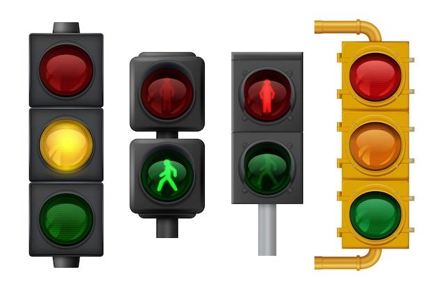 Semafori realistici. oggetti leggeri urbani sui segnali stradali vettoriali per il trasporto. semaforo del traffico per il trasporto di sicurezza su strada illustrazione