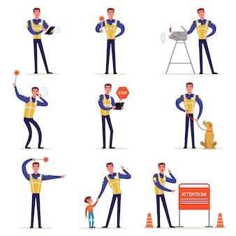 Ufficiale di traffico in uniforme da poliziotto con giubbotto ad alta visibilità, in piedi all'incrocio e fatto segno con le mani illustrazioni su uno sfondo bianco