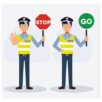 Polizia stradale che tiene segno stop and go illustrazione.