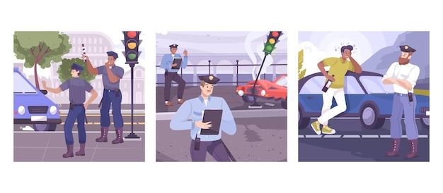 Scene quadrate della polizia stradale con controllo del trasporto