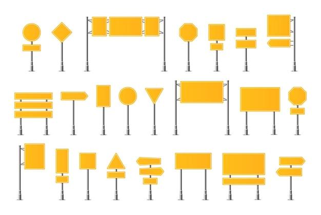 Segni realistici di traffico stradale. segnaletica, segnale di avvertimento stop pericolo attenzione velocità autostrada, insieme di vettore del bordo strada.