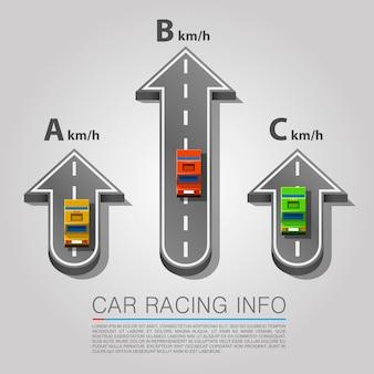 Strada di traffico con auto, posizione della freccia su strada. illustrazione vettoriale