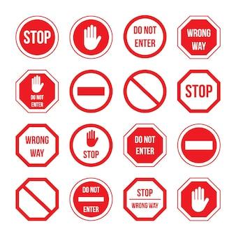 Segnale di stop del traffico con set di informazioni sul messaggio di avviso. segnale di regolazione diverso, cartello stradale con strada sbagliata, non entrare, avviso di vialetto vietato illustrazione vettoriale isolato su sfondo bianco