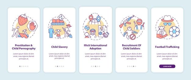 Traffico di bambini a bordo della schermata della pagina dell'app mobile
