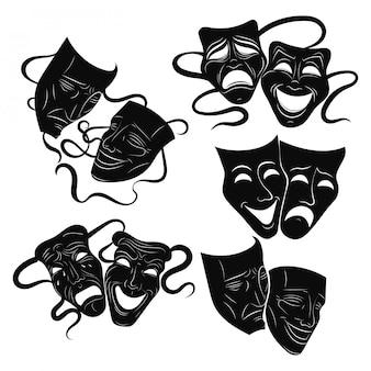 Set di maschere teatrali per tragedia e commedia. collezione di maschere teatrali.