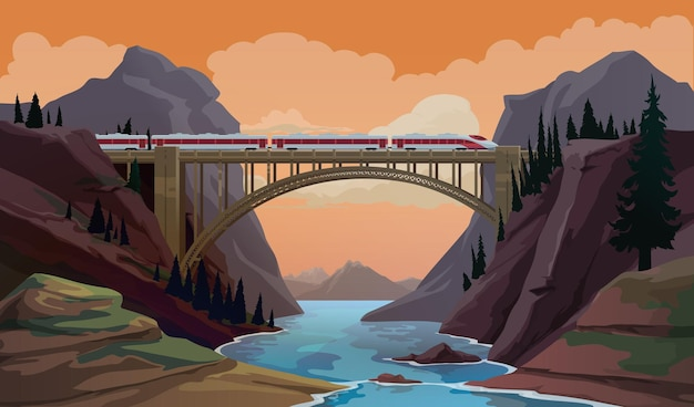 Treno sul ponte. scena di vettore del fumetto di viaggio ferroviario con il moderno canyon di attraversamento espresso ad alta velocità, fiume di montagna dal ponte. trasporto passeggeri, industria dei trasporti e panorama dei viaggi in ferrovia