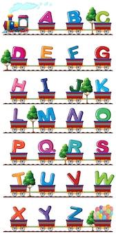 Il treno porta alfabeti inglesi