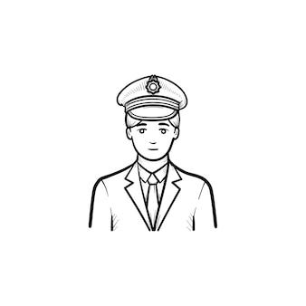 Icona di doodle di contorni disegnati a mano del conduttore del treno. stazione ferroviaria, viaggio ferroviario e concetto di trasporto transportation