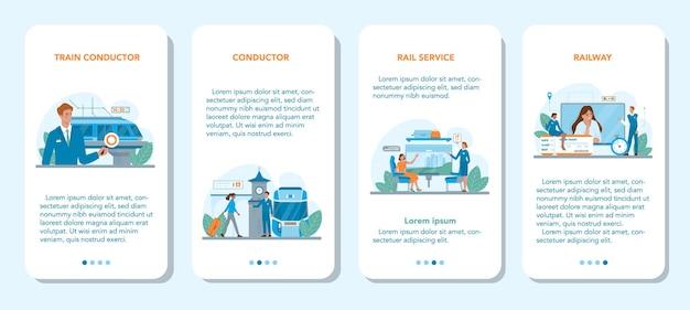 Set di banner per applicazioni mobili del conduttore del treno