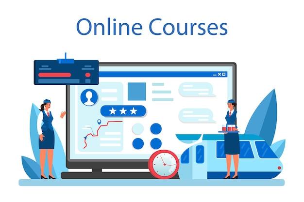 Servizio o piattaforma online del conduttore del treno. corso on line. illustrazione vettoriale piatta