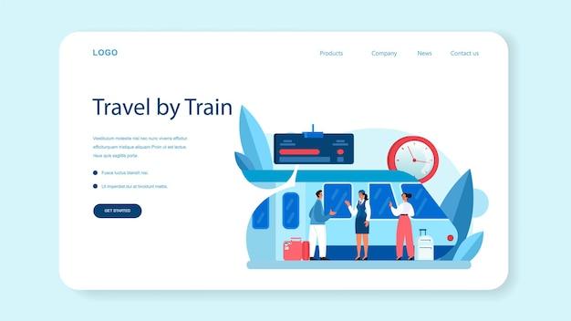 Banner web o pagina di destinazione del conduttore del treno. ferroviere in divisa in servizio. l'assistente di treno aiuta il passeggero nel viaggio. viaggiare in treno. illustrazione vettoriale piatta