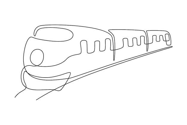 Illustrazione vettoriale di disegno a tratteggio continuo del treno