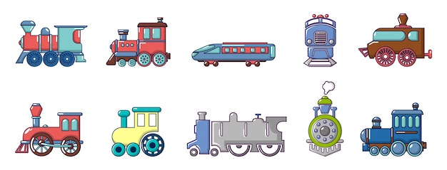Set di icone del treno. l'insieme del fumetto delle icone di vettore del treno ha messo isolato