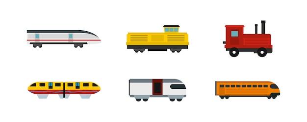 Set di icone del treno. insieme piano della raccolta delle icone di vettore del treno isolato