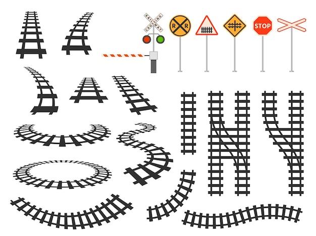 Siluetta curva dei binari ferroviari del treno, barriera e segnaletica stradale. prospettiva ferroviaria e vista mappa dall'alto. insieme di vettore dell'elemento delle strade tortuose del tram