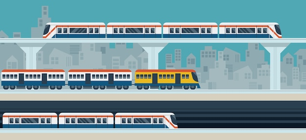 Treno, sky train, metropolitana, illustrazione oggetti sfondo
