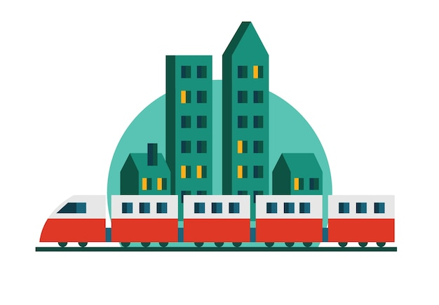 Treno, grattacieli e ferrovia. paesaggio urbano. illustrazione piatto vettoriale.