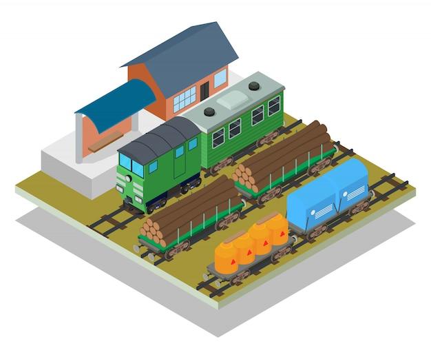 Scena di concetto di stazione ferroviaria