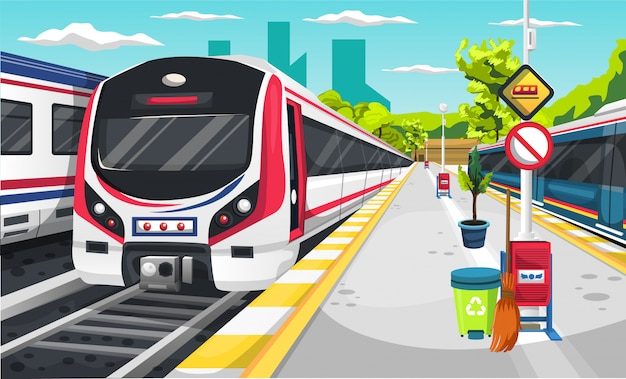 Stazione ferroviaria con locomotiva del treno elettrico, cestino, scopa, cartello stradale e albero verde
