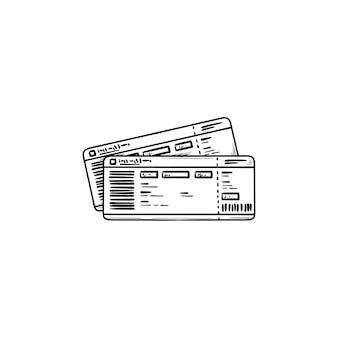Icona di doodle di contorni disegnati a mano del biglietto del treno. carta d'imbarco del treno, viaggio e ferrovia, metropolitana e concetto di viaggio